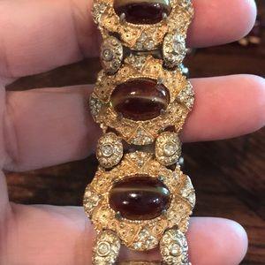 Vintage Jewelry - Hobe gold tone bracelet with givre glass stones